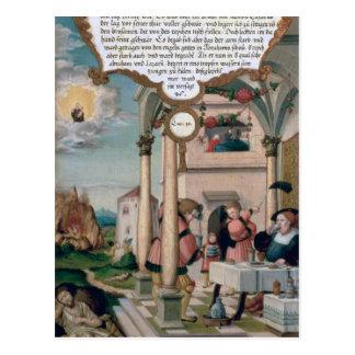 Cartão Postal Lazarus e a mesa de homem rico