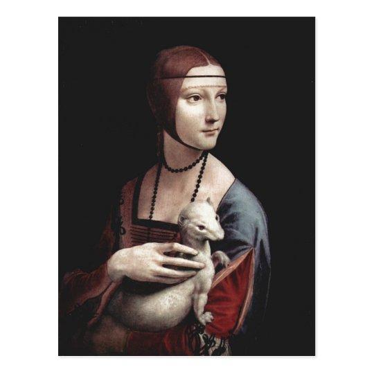 Cartão Postal Leonardo da Vinci Portr? mit Hermelin da dama do