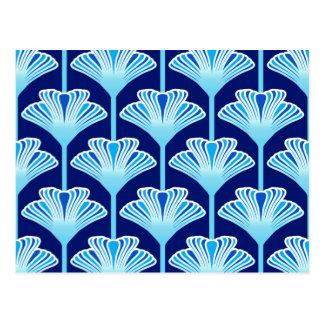 Cartão Postal Lírio, azuis cobaltos, Aqua e branco do art deco