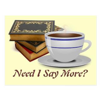 Cartão Postal Livros & café: Necessidade eu digo mais?