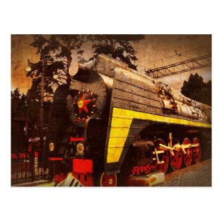 Cartão Postal Locomotiva de vapor na estação de comboio de Kiev