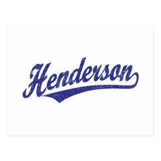 Cartão Postal Logotipo do roteiro de Henderson no azul afligido