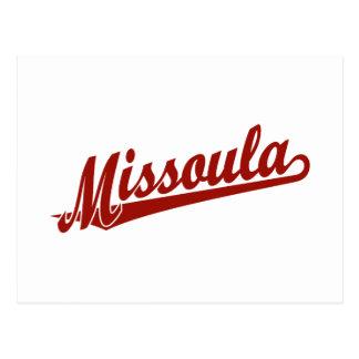 Cartão Postal Logotipo do roteiro de Missoula no vermelho