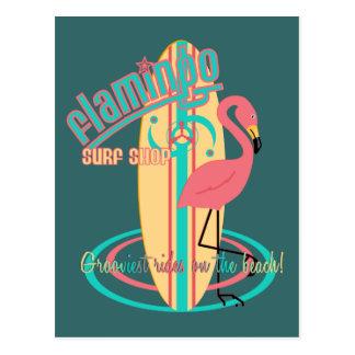 Cartão Postal Loja do surf do flamingo