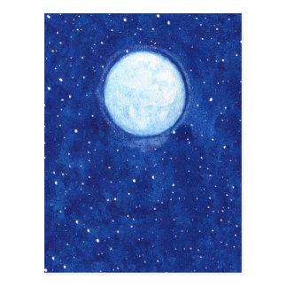 Cartão Postal Lua cheia da aguarela