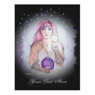 Cartão Postal Lua em um Pagan de Wiccan da bruxa da garrafa