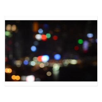 Cartão Postal Luzes borradas da noite de Hong Kong