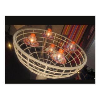 Cartão Postal LUZES em uma cesta: Faísca da decoração interior