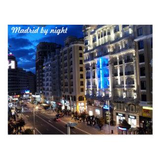 Cartão Postal Madrid em a noite