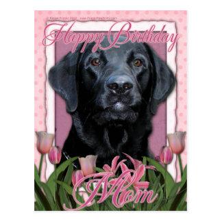 Cartão Postal Mamã do feliz aniversario - Labrador - preto -