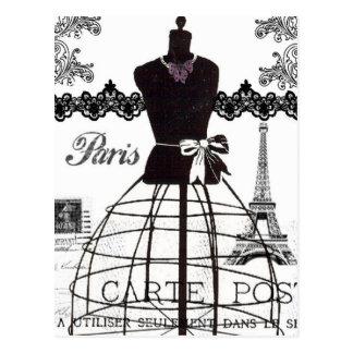 Cartão Postal Manequim branco preto da forma de Paris