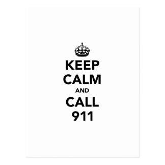 Cartão Postal Mantenha a calma e a chamada 911