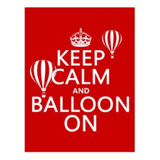 Cartão Postal Mantenha a calma e o balão em (ballooning de ar