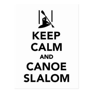 Cartão Postal Mantenha a calma e o slalom da canoa