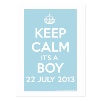 Cartão Postal Mantenha a calma que é um menino!