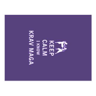 Cartão Postal Mantenha calmo mim conhecem Krav Maga