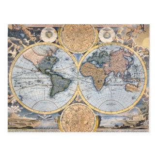 Cartão Postal Mapa antigo bonito do atlas