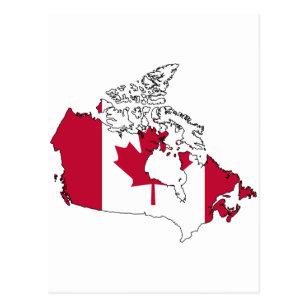 Cartão Postal Mapa da bandeira de Canadá