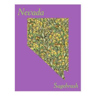 Cartão Postal Mapa da colagem da flor de estado de Nevada