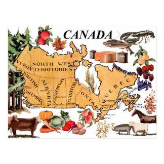 Cartão Postal Mapa de Canadá e de vários produtos