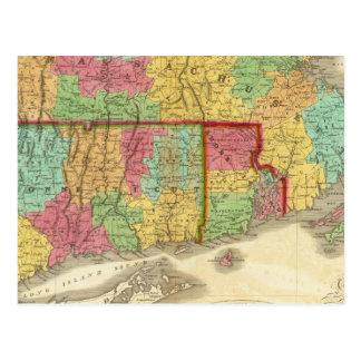 Cartão Postal Mapa de Massachusetts Connecticut e de Rhode -