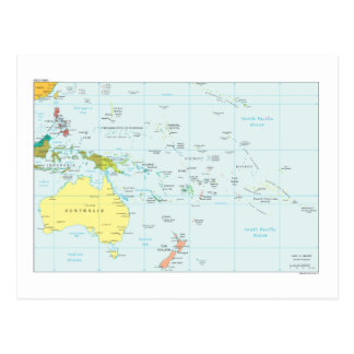 Cartão Postal Mapa de Oceania