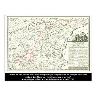 Cartão Postal Mapa de rota de Don Quixote - Cervantes