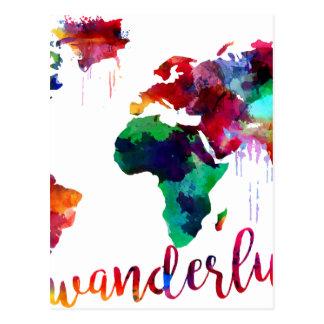 Cartão Postal Mapa do mundo do Wanderlust da aguarela