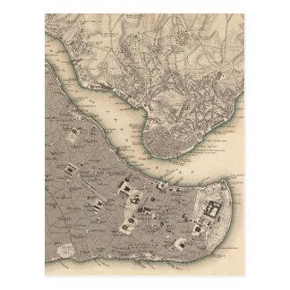 Cartão Postal Mapa do vintage de Constantinople (1840)