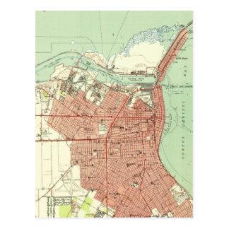 Cartão Postal Mapa do vintage de Corpus Christi Texas (1951)