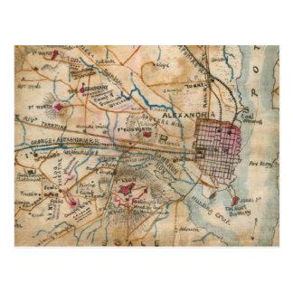Cartão Postal Mapa do vintage de Virgínia do nordeste (1862)
