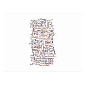 Cartão Postal Mapa Doric da palavra