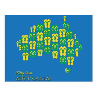 Cartão Postal Mapa feito de tangas australianas