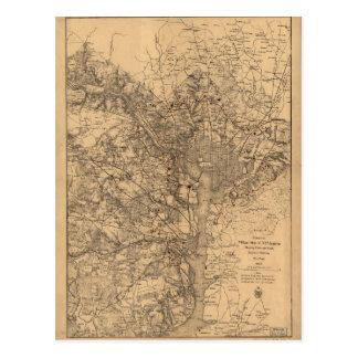 Cartão Postal Mapa militar nordeste Virgínia com fortes &