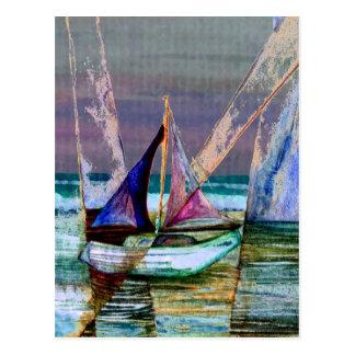 Cartão Postal Mar abstrato de turquesa do veleiro