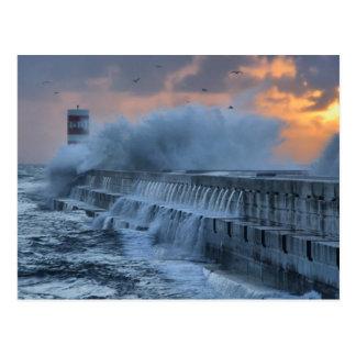 Cartão Postal Mar áspero em Porto, Portugal