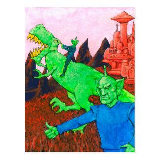 Cartão Postal Marciano e T-Rex
