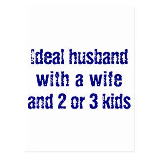 Cartão Postal Marido ideal com uma esposa e os 2 ou 3 miúdos