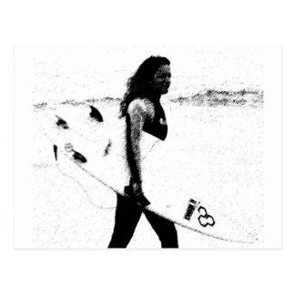 Cartão Postal Menina do surf