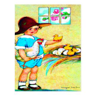 Cartão Postal Menina em um chapéu flexível com choque de
