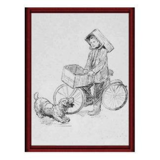 Cartão Postal Menino de entrega da bicicleta do vintage