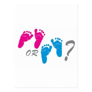 Cartão Postal menino ou menina? o género revela o partido