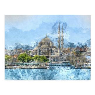 Cartão Postal Mesquita azul em Istambul Turquia