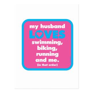 Cartão Postal Meu marido ama Triathlons