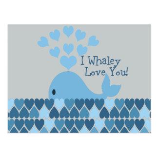 Cartão Postal Mim amor de Whaley você! Azul