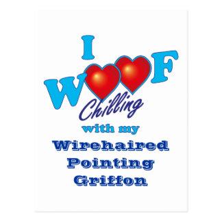 Cartão Postal Mim apontar Wirehaired Griffon do Woof