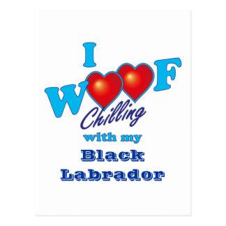 Cartão Postal Mim Woof Labrador preto