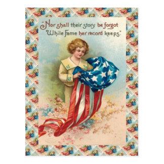 Cartão Postal Miúdo do vintage com bandeira, relembrança