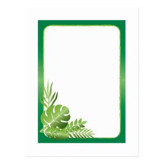 Cartão Postal Modelo vazio das folhas tropicais verdes