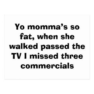 Cartão Postal Momma de Yo tão gordos, quando andou passado o T…